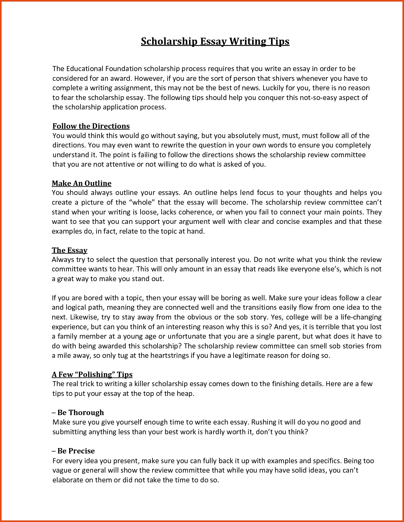 003 Scholarship Essay Format Sample With Regard To Sensational College Essays For Writing Full