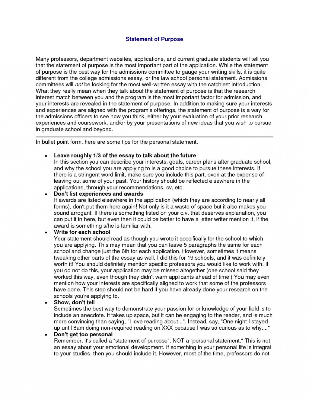 003 Statement Of Purpose Sample Essays Essay Example Graduate School Fearsome Education Psychology Mba Large