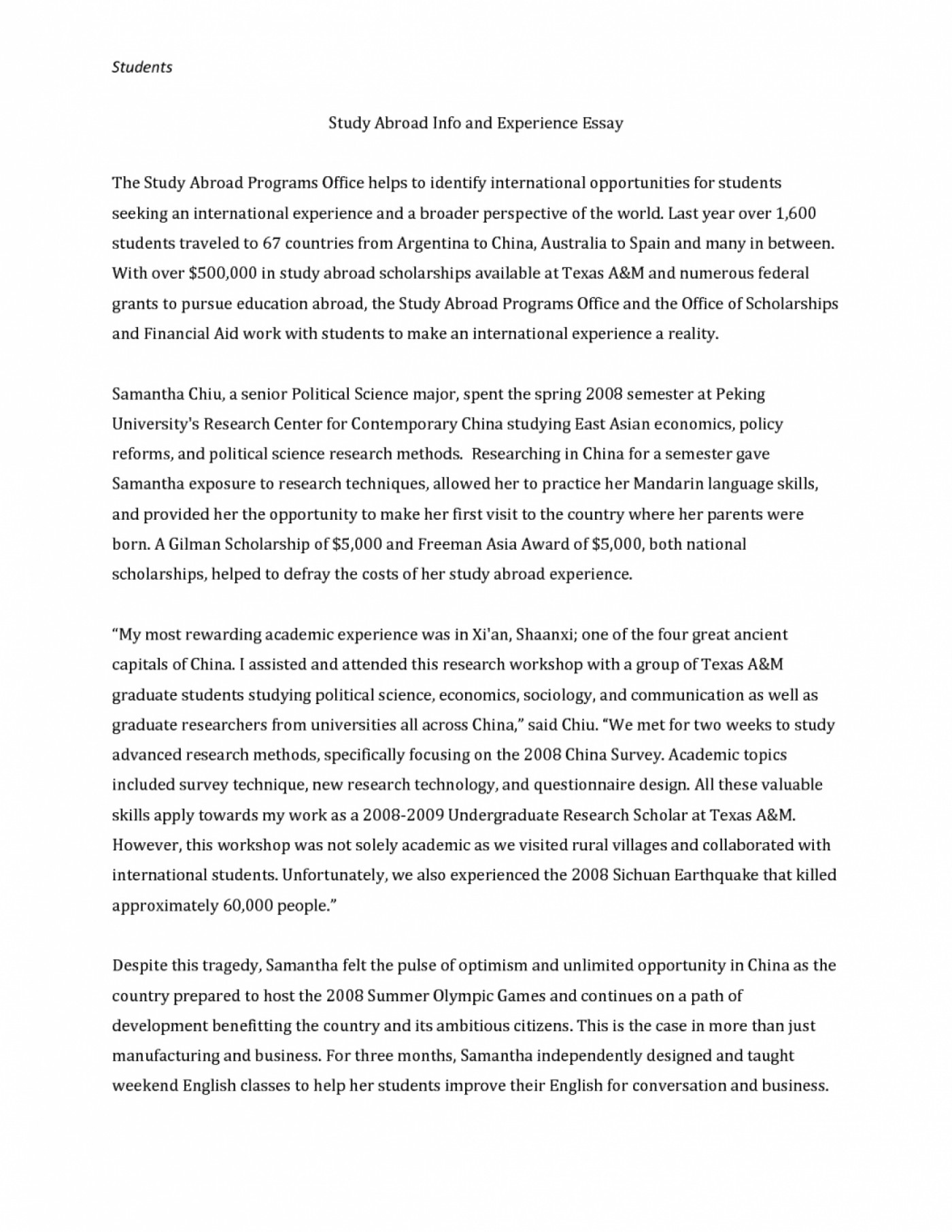 study abroad personal statement sample