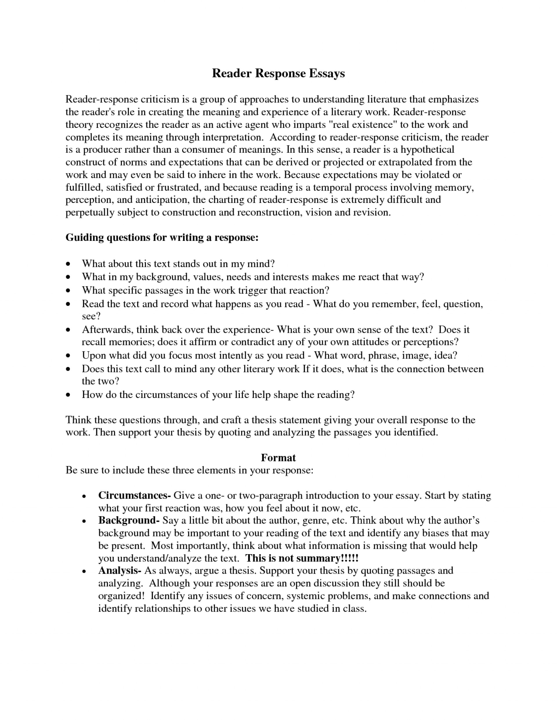Response Essay | Summary And Response Essay Example Response Essay Thesis Write An