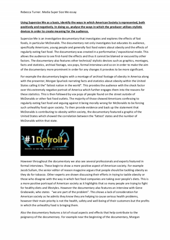 003 Supersize Me Essay Supersizemeessay Phpapp01 Thumbnail Stupendous Fathead Vs Super Size Conclusion Summary Large