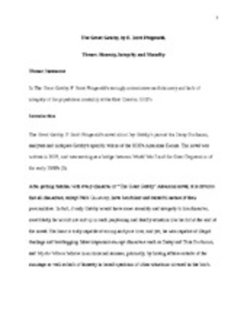 003 The Great Gatsby Themes Essay Great20american20novel20completedpage1 Stirring Theme Analysis And Symbolism Full