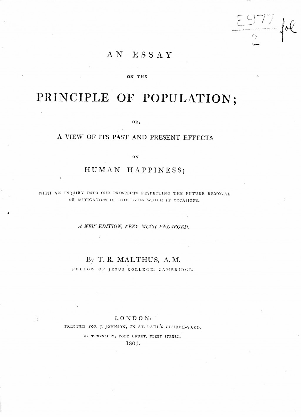 003 Thomas Malthus An Essay On The Principle Of Population 2fol Marvelous Summary Analysis Argued In His (1798) That Large