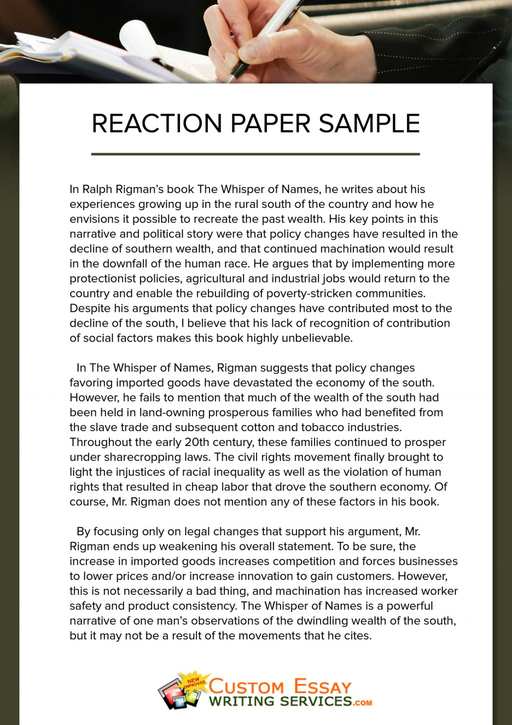 003 Writing Reaction Paper Sample Essay Top Example Large