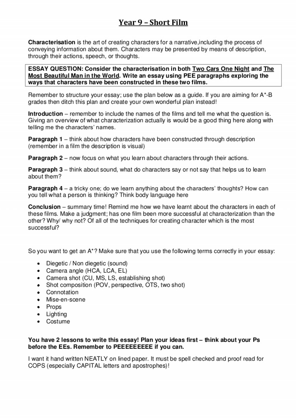 003 Year9shortfilmcharacterisationessay Phpapp02 Thumbnail How To Write An Essay On Characterization Astounding A Paper Research Large