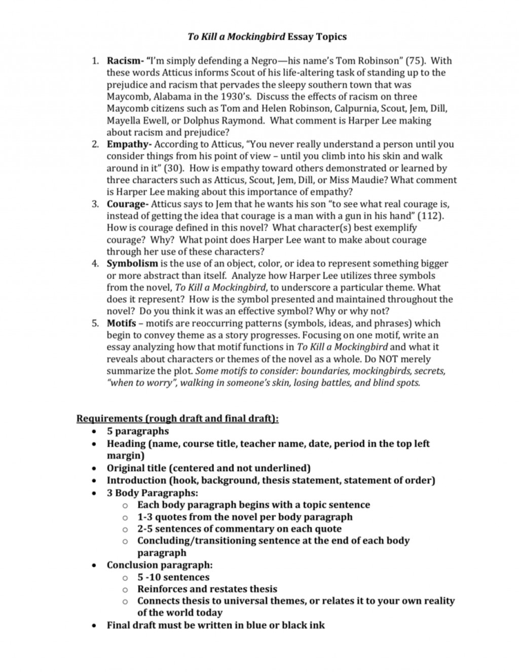 004 008003557 1 To Kill Mockingbird Essay Topics Stunning A Writing Prompts By Chapter Research Paper Pdf Large