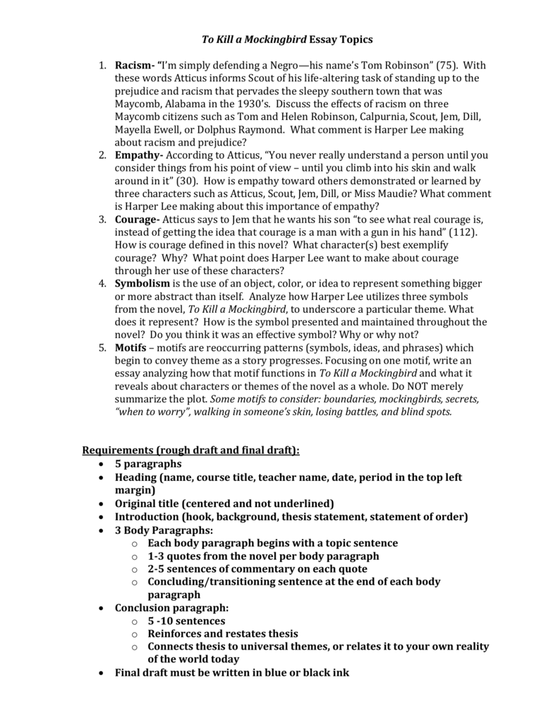 004 008003557 1 To Kill Mockingbird Essay Topics Stunning A Writing Prompts By Chapter Research Paper Pdf Full