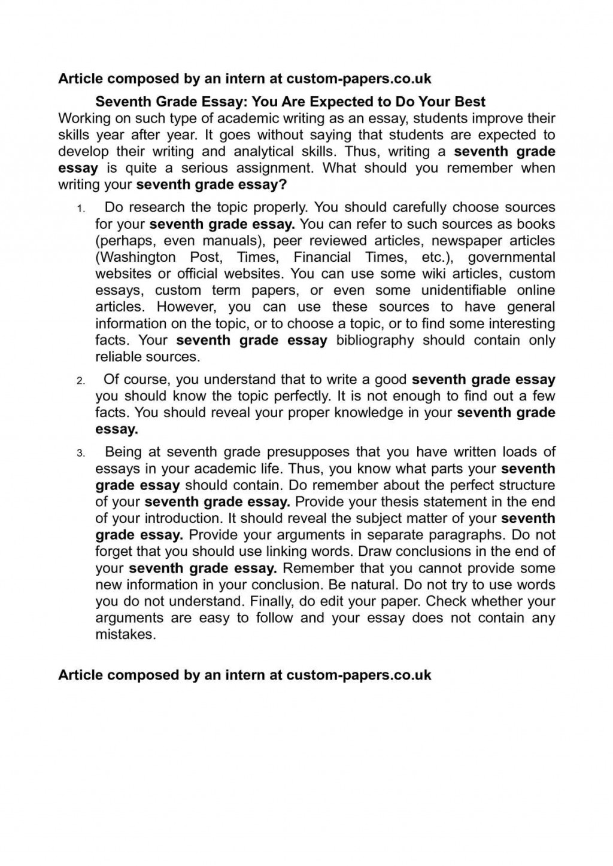 004 7th Grade Essay Topics Example Rare Good Research Paper Argumentative Personal Narrative Large