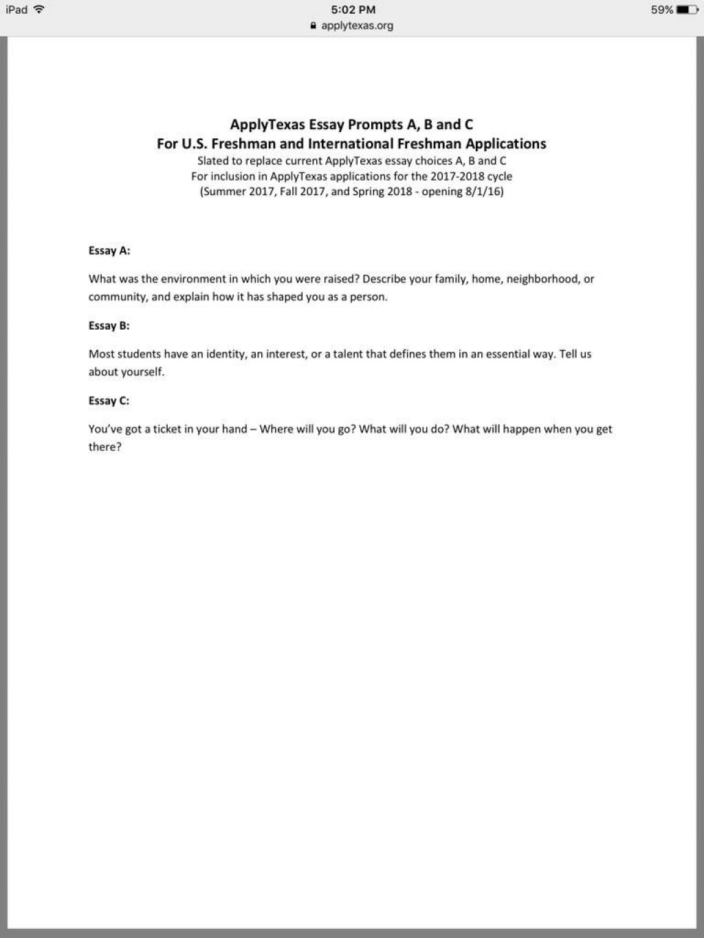 004 Apply Texas Essay Topics 427aa3812b5df54f56a41e0a54db6e765049eada Hq Archaicawful Prompt C Example Topic Examples A Large