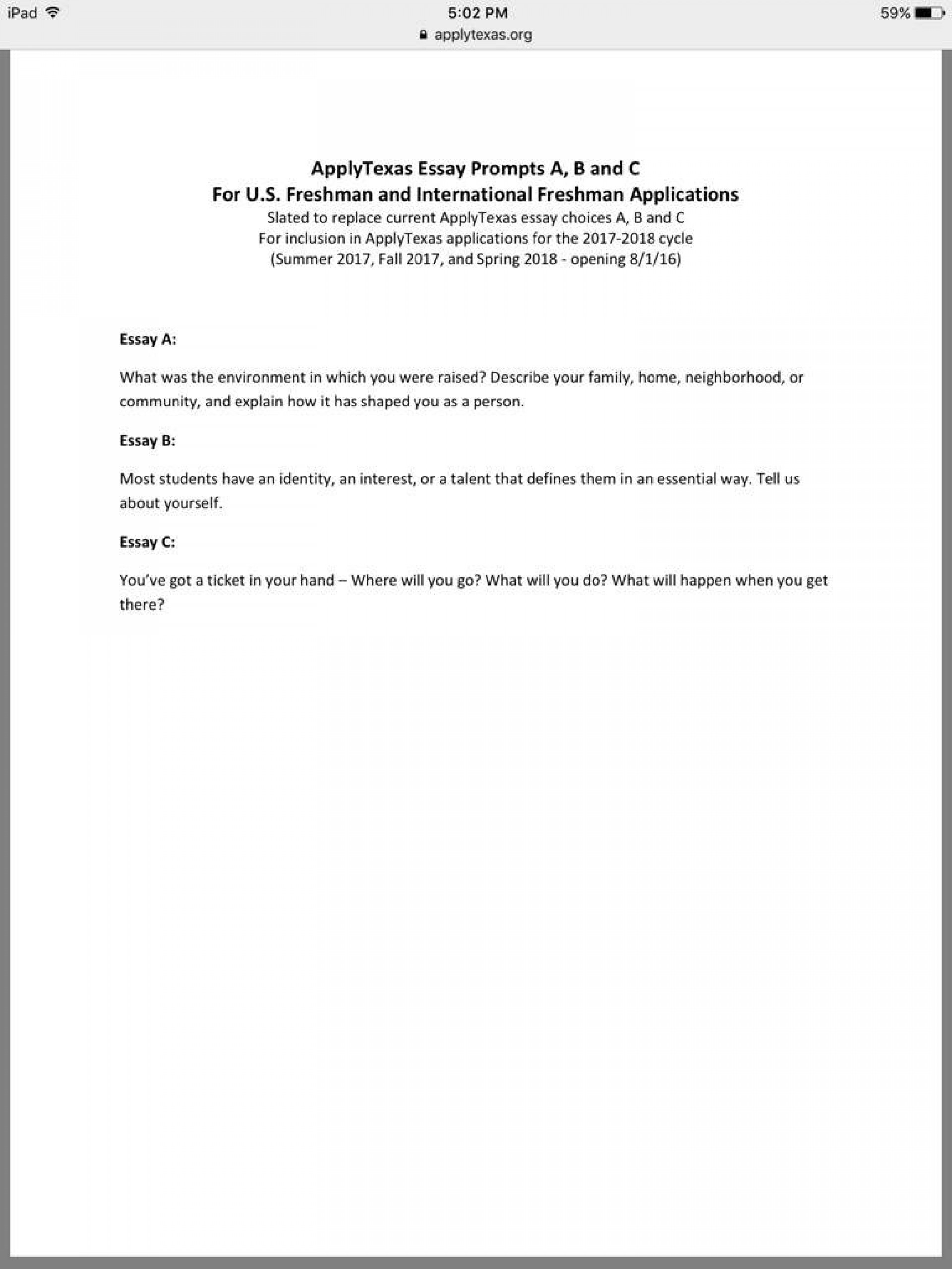 004 Apply Texas Essay Topics 427aa3812b5df54f56a41e0a54db6e765049eada Hq Archaicawful Prompt C Example Topic Examples A 1920