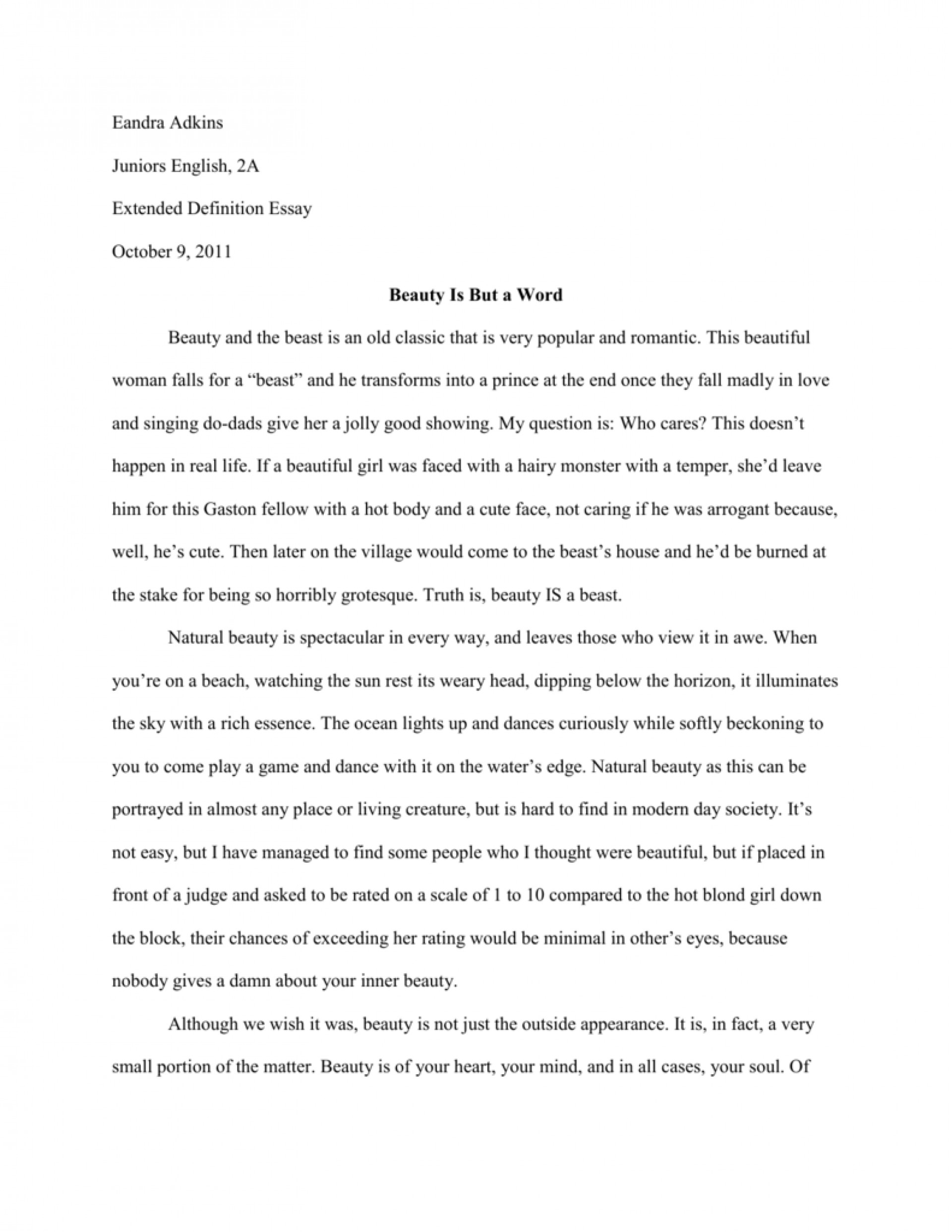 what is true beauty argumentative essay