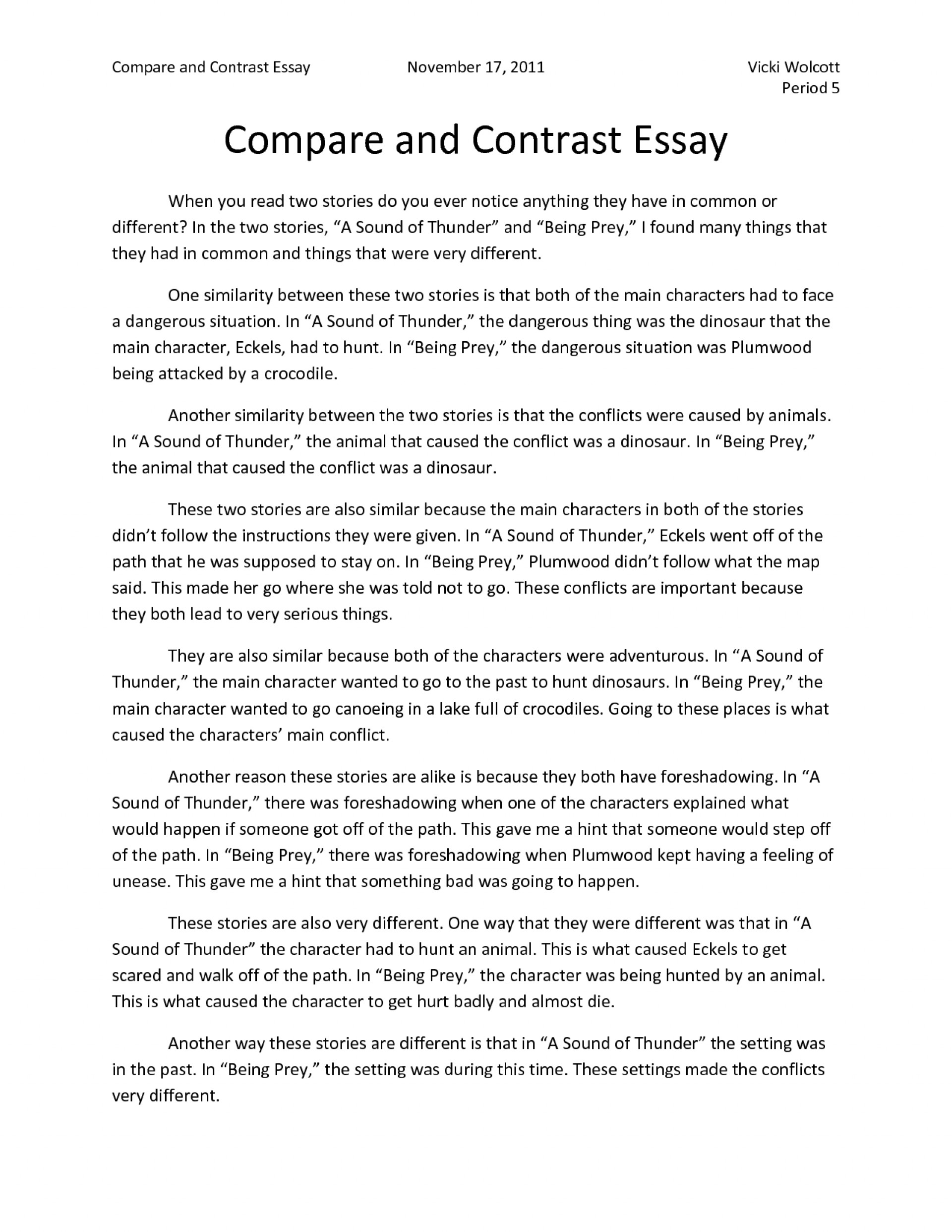 004 Compare And Contrast Essay Sample Example Perfect Essays Introduction College Examples  Incredible 6th Grade Comparison Pdf Point By1920