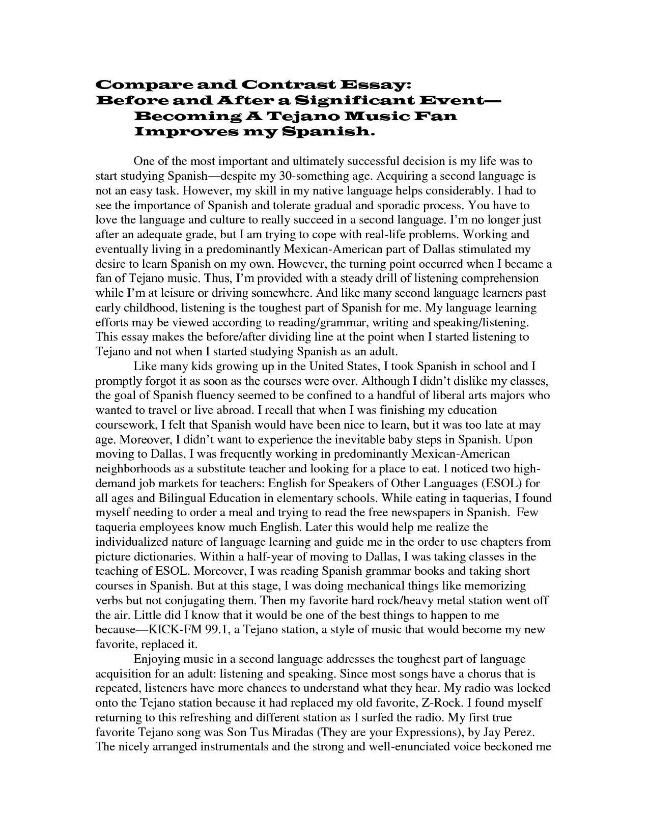 004 Compare Contrast Essays Unusual Essay Examples High School Vs College Comparison Pdf And Topics 6th Grade Full