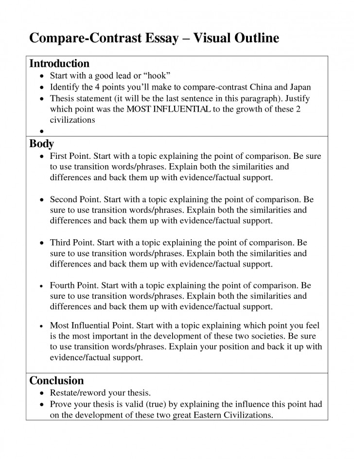 004 Comparison And Contrast Essay Outline Impressive Compare 5th Grade High School Template 728