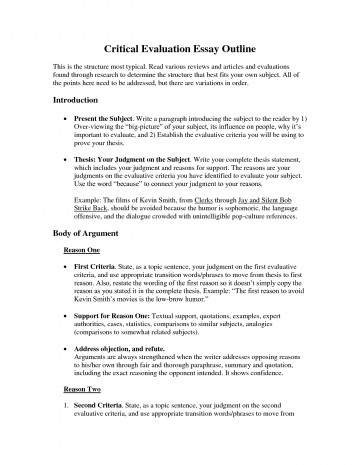 004 Critical Evaluation Essay Example Sample L Incredible Book Samples On Movies Self Format 360