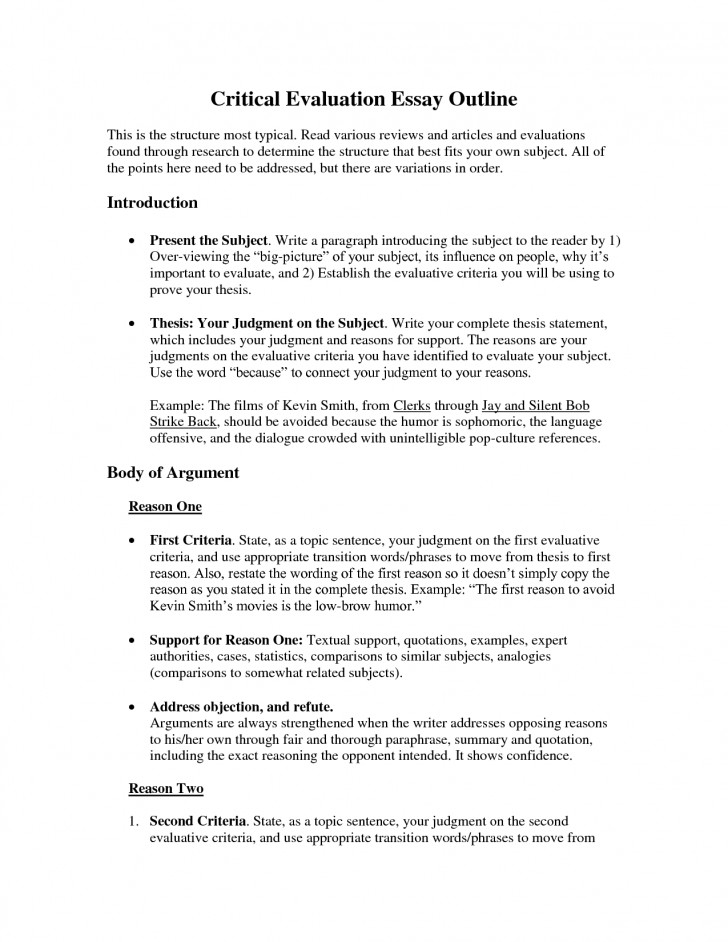 004 Critical Evaluation Essay Example Sample L Incredible Book Samples On Movies Self Format 728