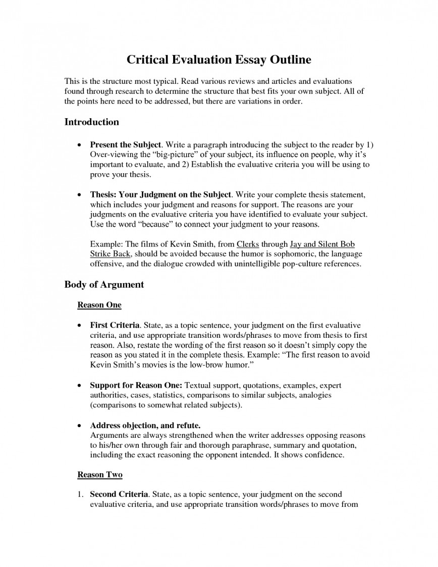 004 Critical Evaluation Essay Example Sample L Incredible Book Samples On Movies Self Format 868