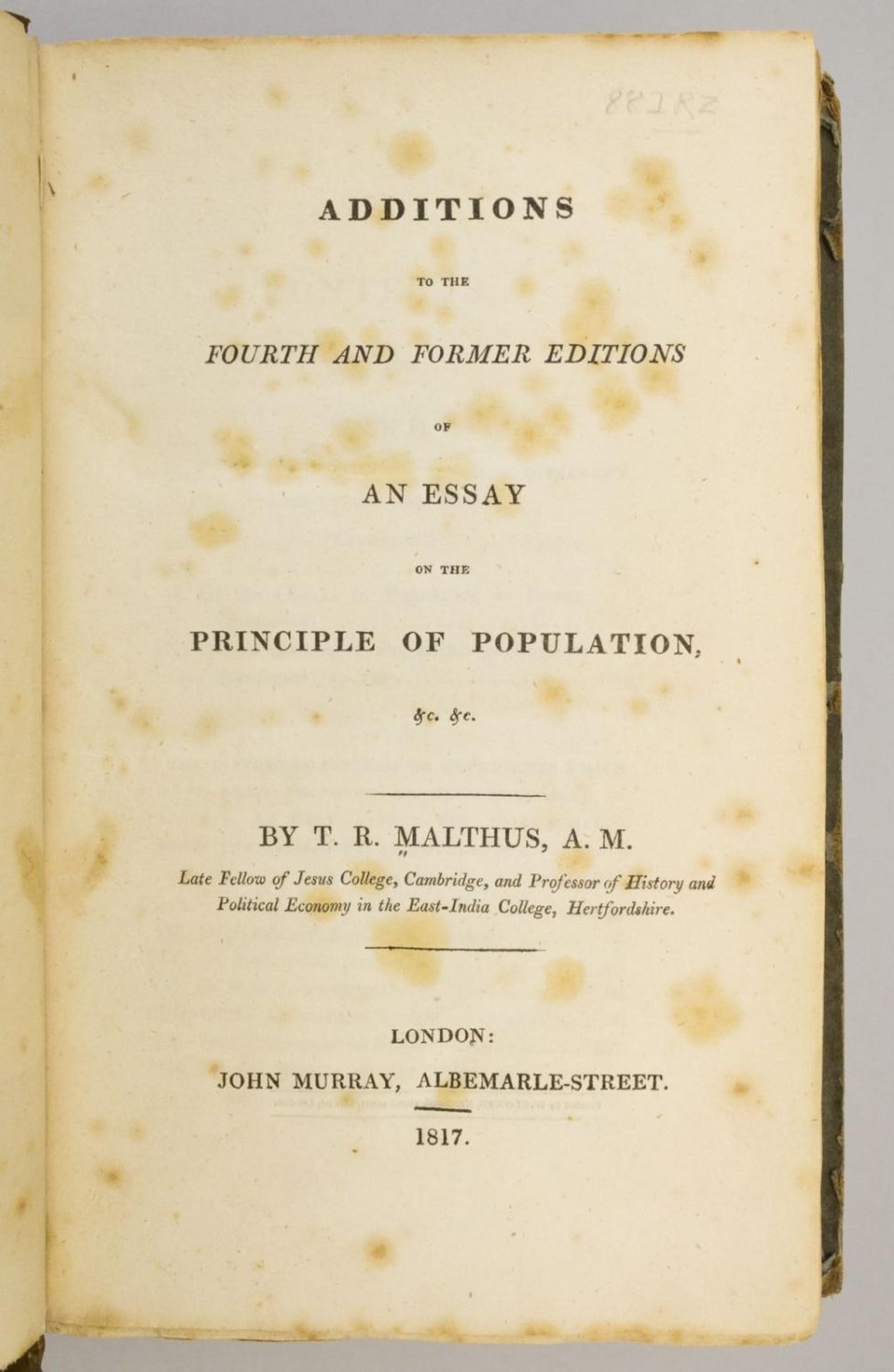 004 Essay Example 5337830061 2 Thomas Malthus On The Principle Of Stupendous Population After Reading Malthus's Principles Darwin Got Idea That Ap Euro 1920