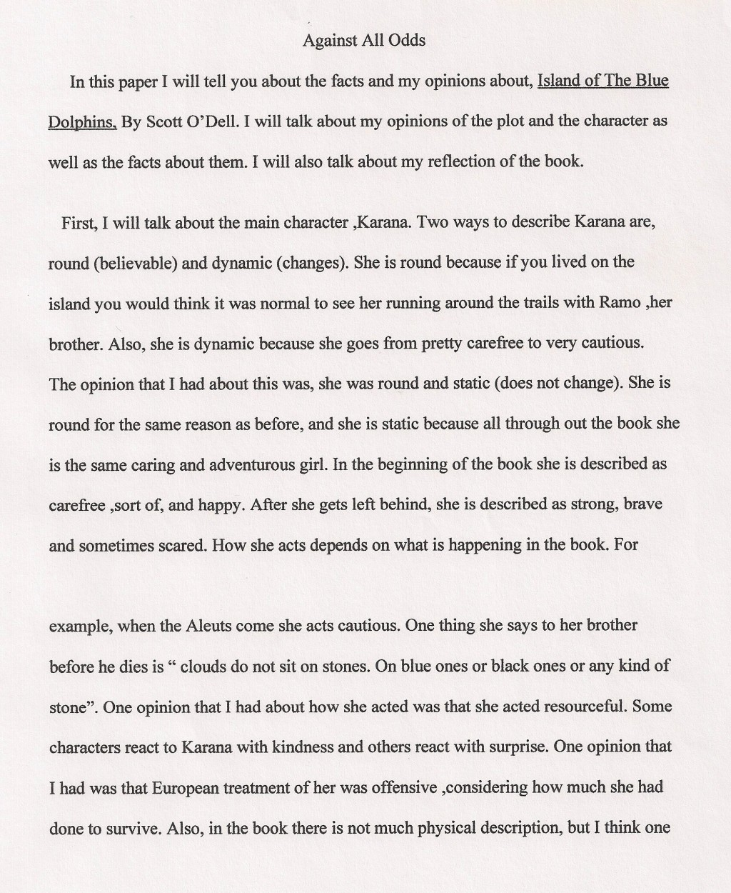 004 Essay Example 6th Grade Examples Against All Odds Fantastic Narrative Writing Literary Large
