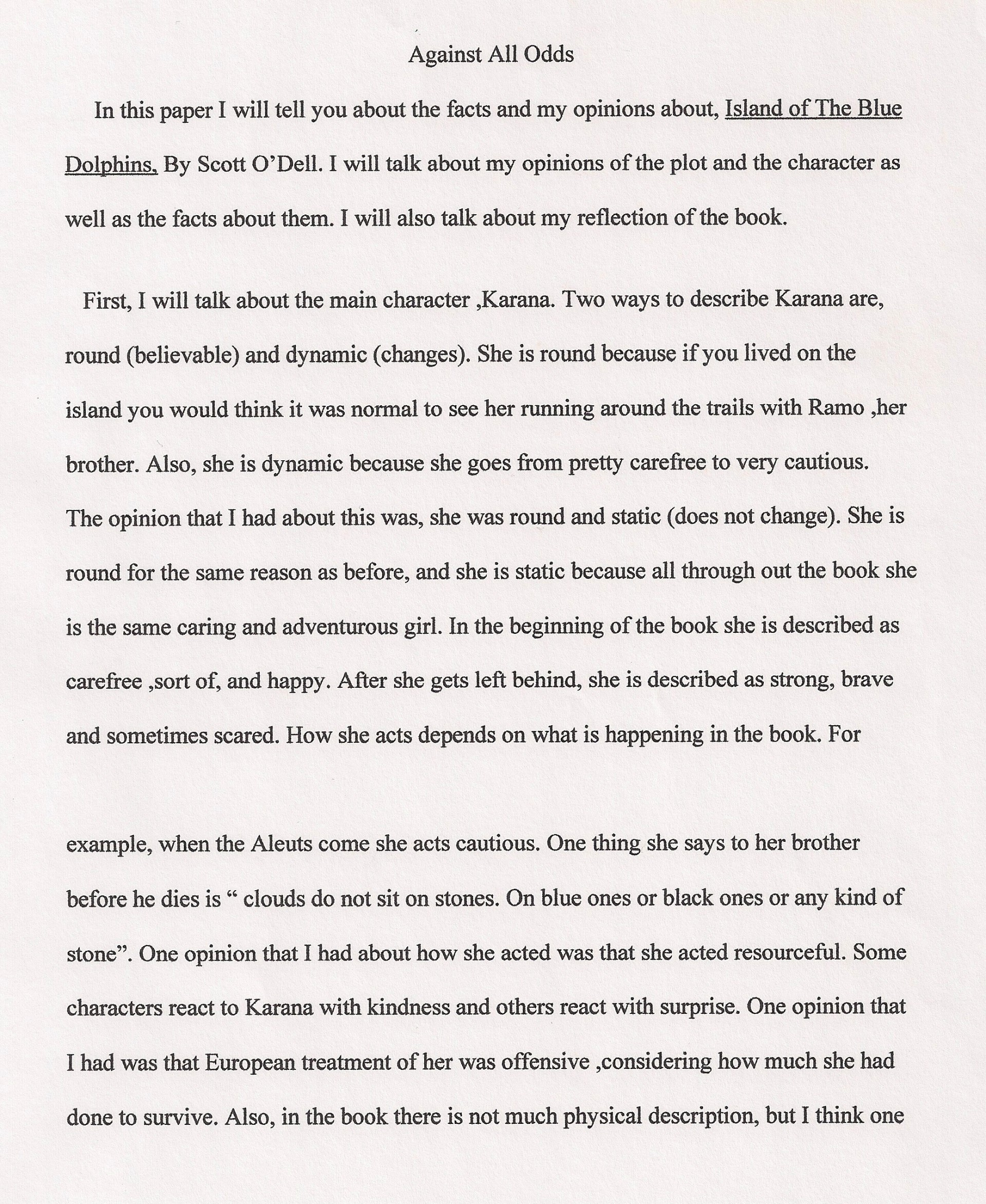 004 Essay Example 6th Grade Examples Against All Odds Fantastic Narrative Writing Literary 1920