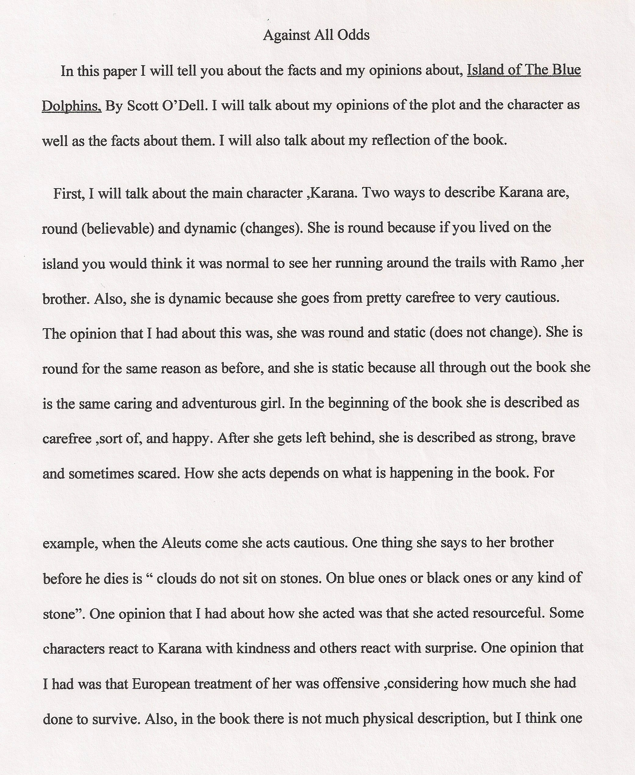 004 Essay Example 6th Grade Examples Against All Odds Fantastic Narrative Writing Literary Full