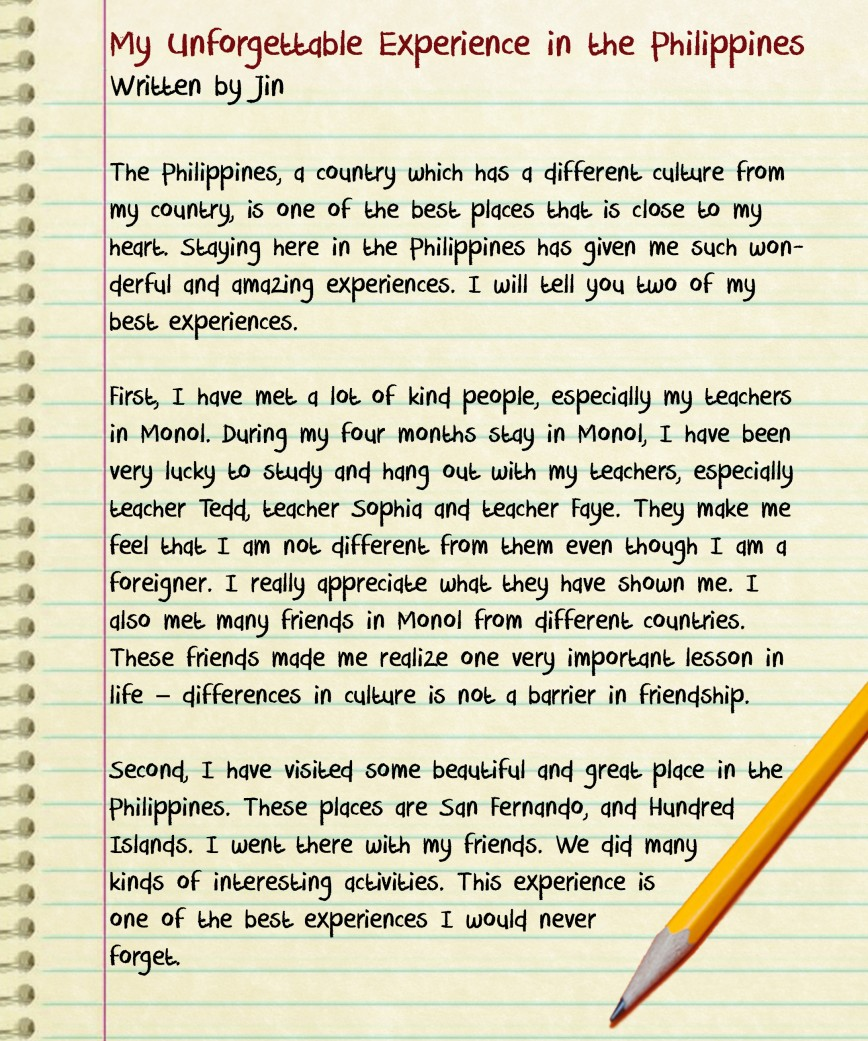 004 Essay Example About Experience In Life Best Depth College Unforgettable