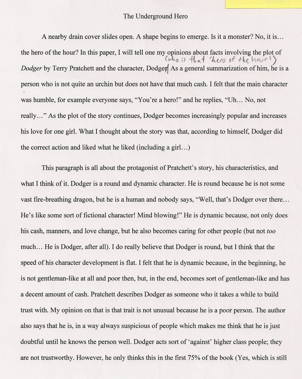 004 Essay Example An About My Hero The Underground Fascinating Heroine Teacher 500 Words A Narrative Large