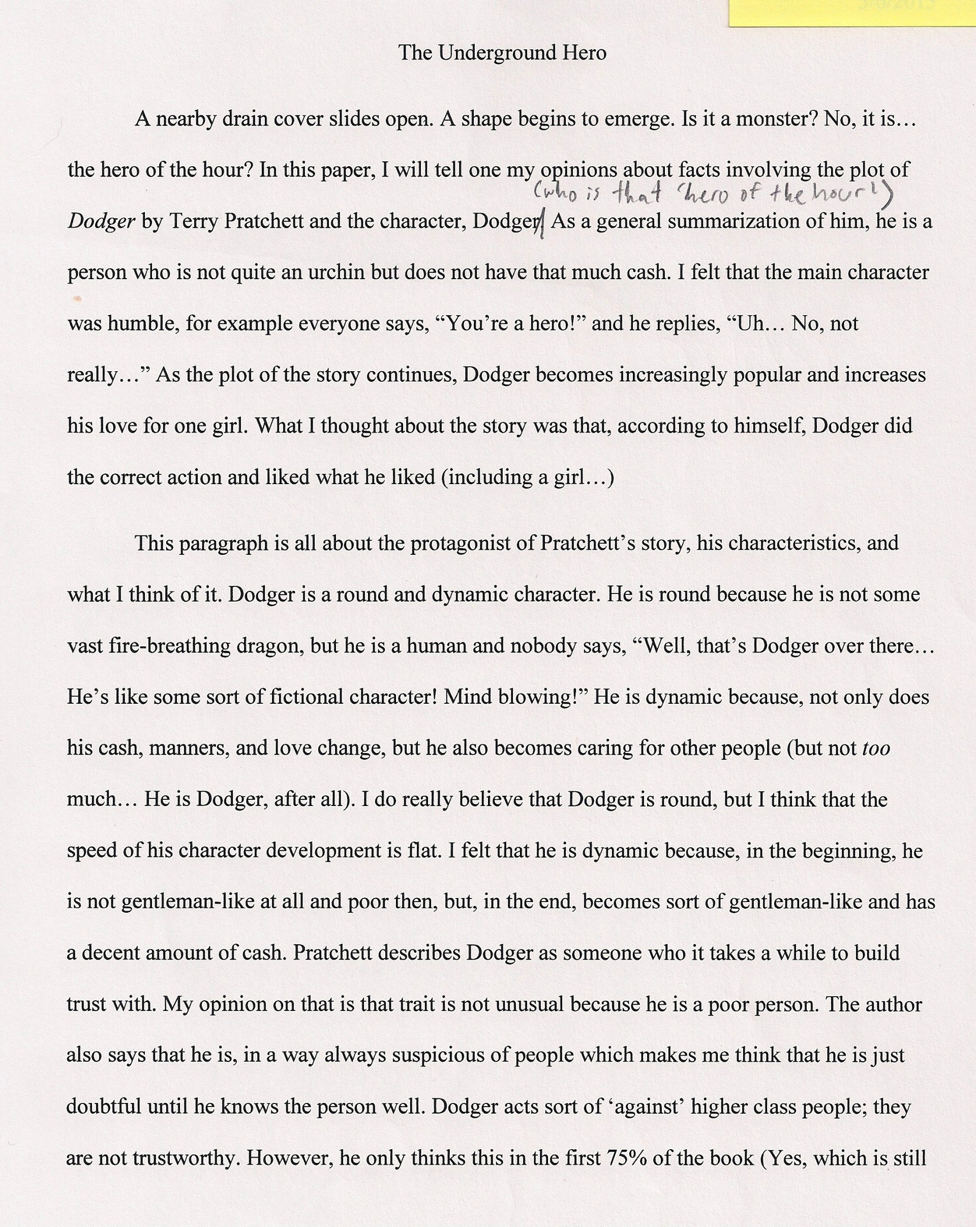 004 Essay Example An About My Hero The Underground Fascinating Heroine Teacher 500 Words A Narrative 1920