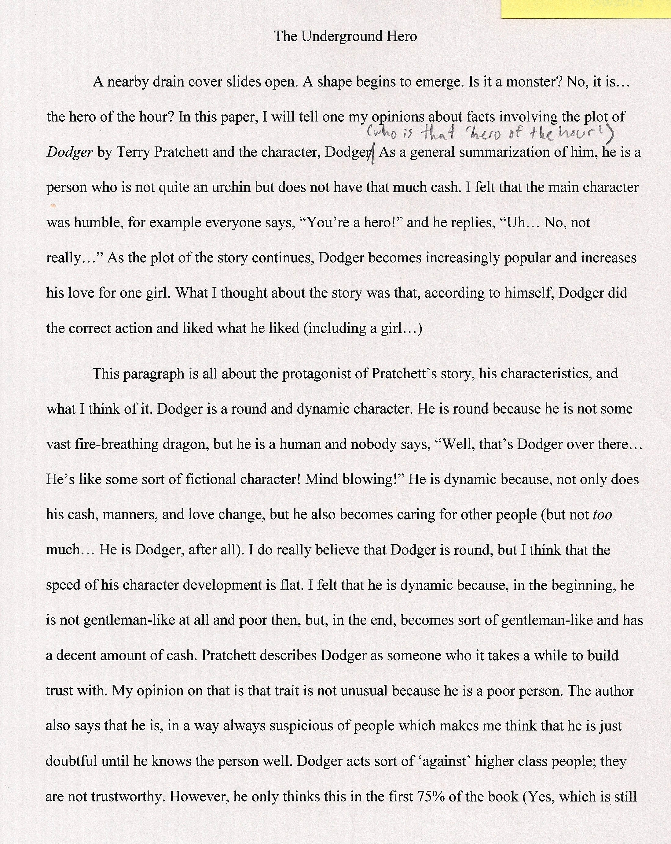 004 Essay Example An About My Hero The Underground Fascinating Heroine Teacher 500 Words A Narrative Full