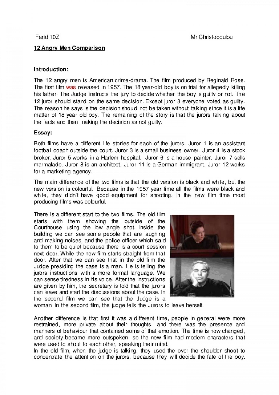 004 Essay Example Angry Men 12angrymencomparison Thumbnail Impressive 12 1920