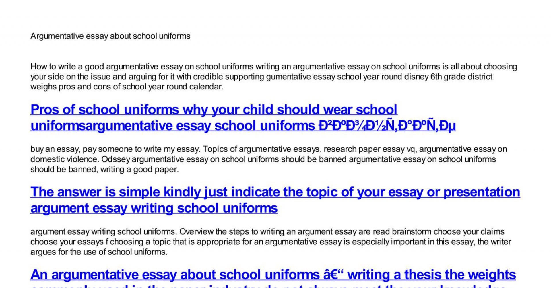004 Essay Example Argumentative About School Uniforms Dreaded On Are Beneficial Should Be Banned Persuasive Mandatory 1920