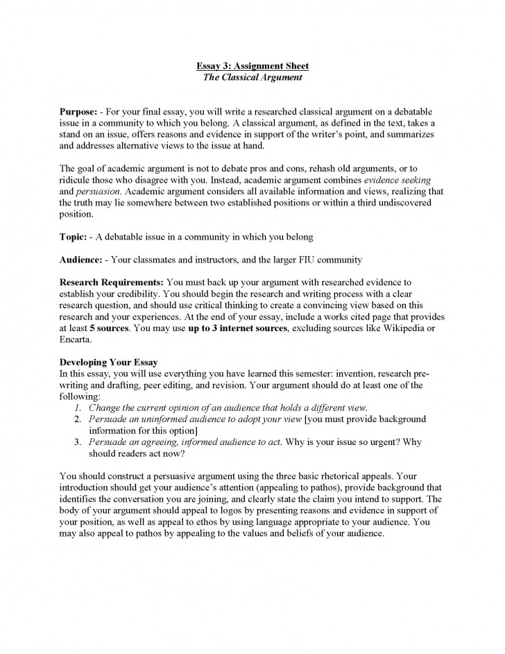 004 Essay Example Classical Argument Unit Assignment Page 1 About My Archaicawful Life As A Student Experience Of University And Peer Pressure 728