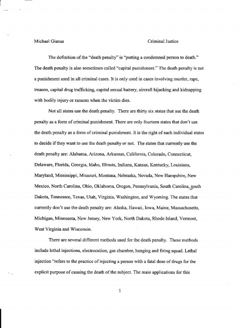 004 Essay Example Death Penalty Pg Personal Breathtaking Samples Examples For College Good Topics High School 480