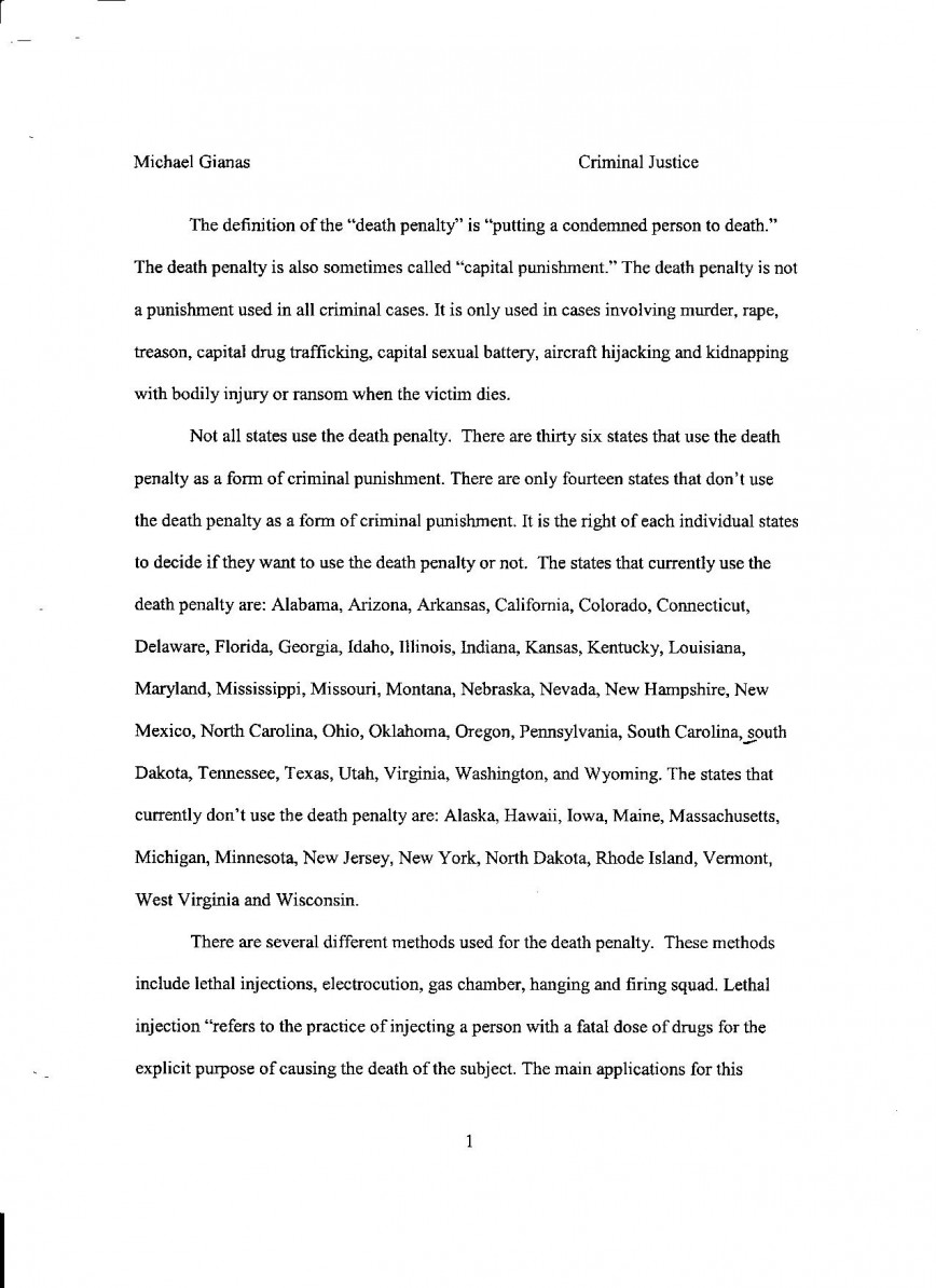 004 Essay Example Death Penalty Pg Personal Breathtaking Samples Examples For College Good Topics High School 868