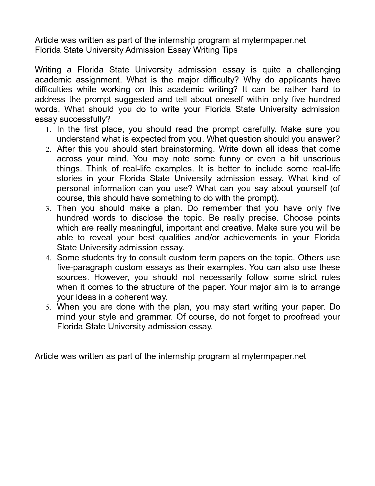 004 Essay Example Fsu Prompt Unique Care Program Full