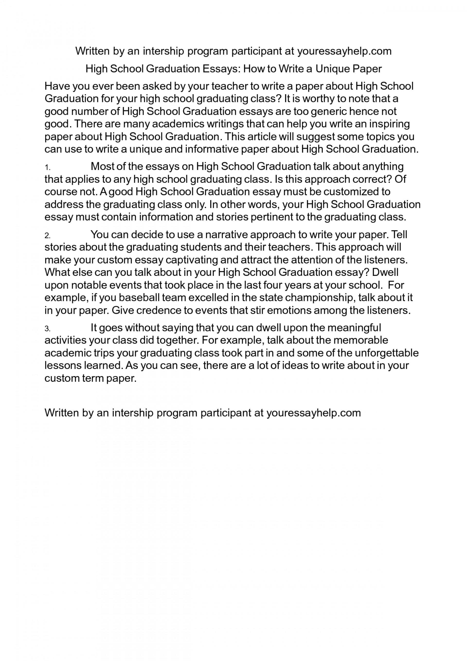 004 Essay Example Graduation Examples Cvdzudn Day 5th Grade Elementary Project Topics Sample High Rare School Ceremony 1920
