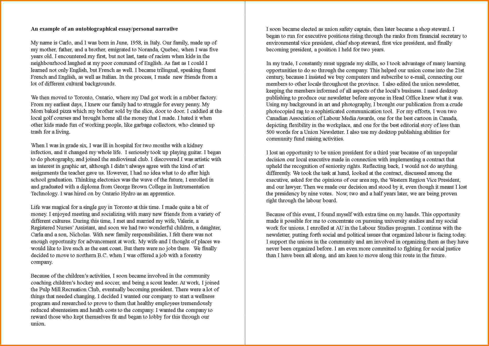 004 Essay Example How To Write An Autobiography Incredible Autobiographical For Graduate School A Job Full