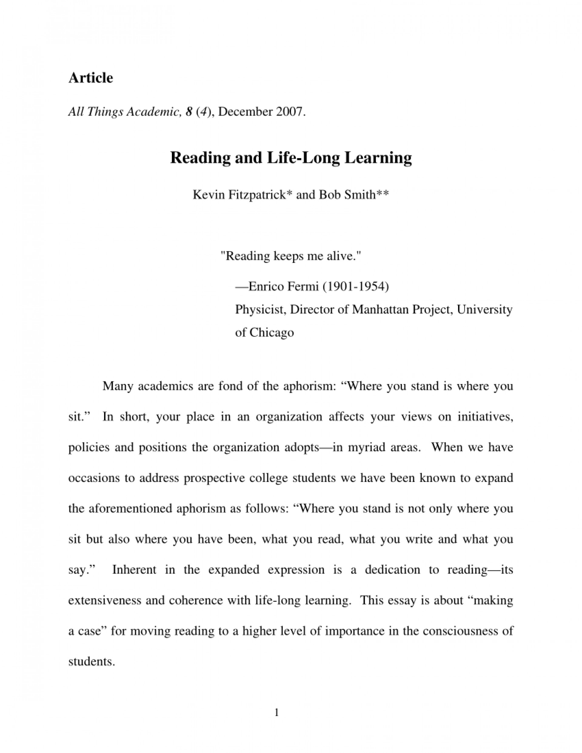 004 Essay Example Largepreview Life Long Sensational Learning Lifelong Sample Pdf 1920