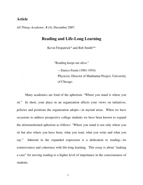 004 Essay Example Largepreview Life Long Sensational Learning Lifelong Sample Pdf 480