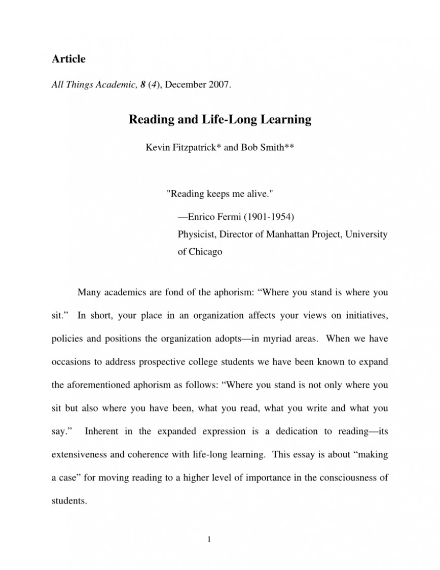 004 Essay Example Largepreview Life Long Sensational Learning Lifelong Sample Pdf 868