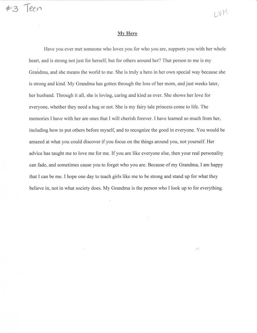 004 Essay Example My Hero Third20place20teen20sarah20horst20 Wondrous In English Titles Michigan Examples
