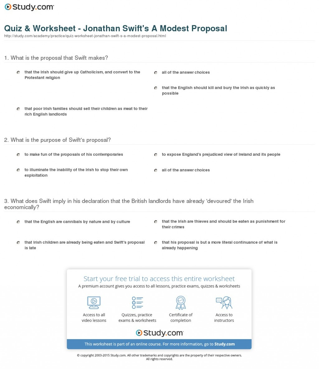 004 Essay Example Quiz Worksheet Jonathan Swift S Modest Astounding A Proposal 50 Essays Questions Large