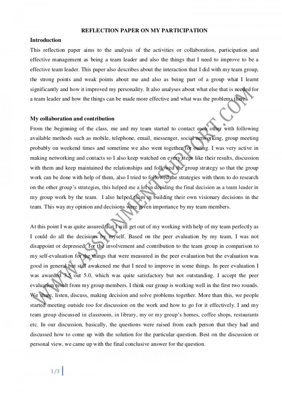 004 Essay Example Reflective Reflectiveessay Phpapp02 Thumbnail Amazing Introduction English 101 Rubric 960