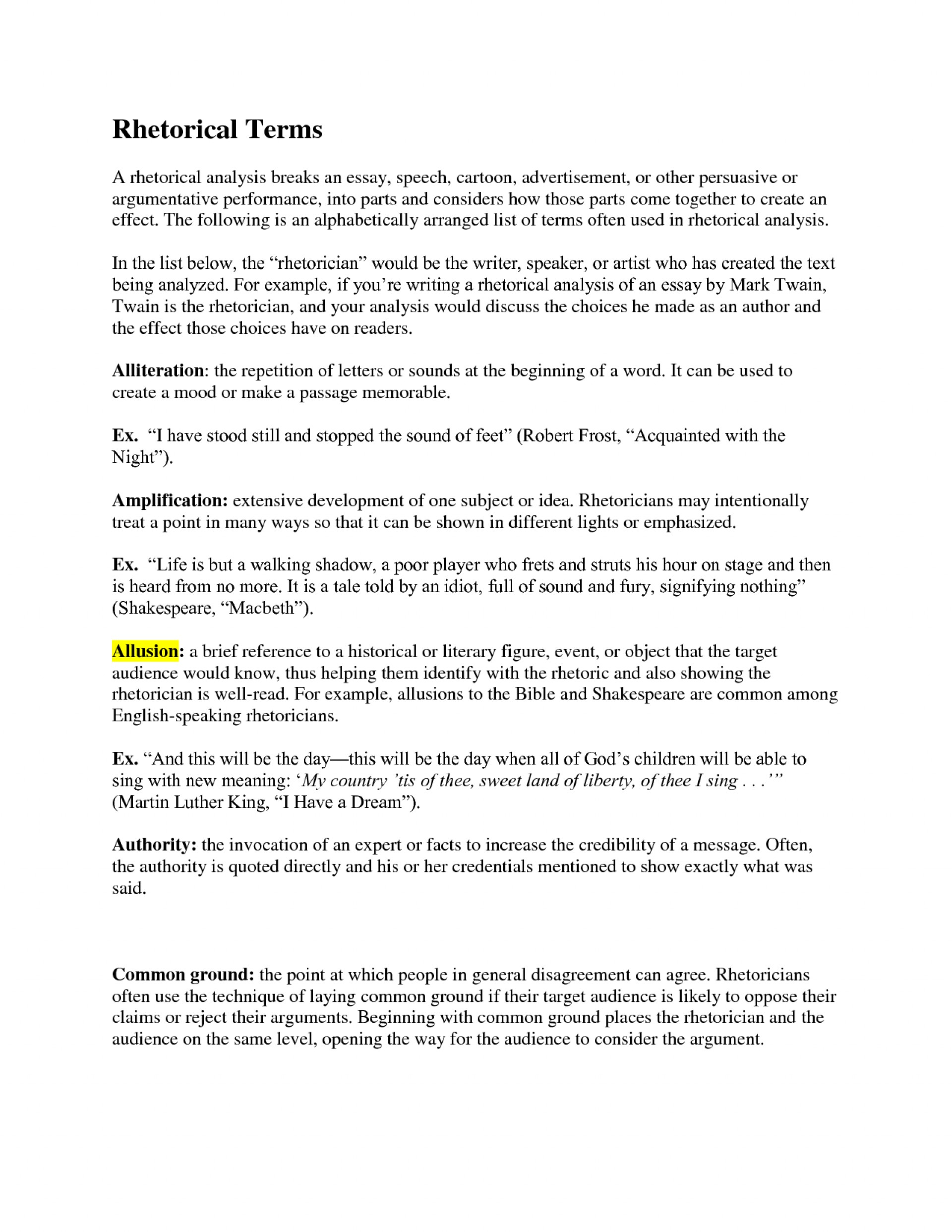 004 Essay Example Rhetorical Dreaded Definition Analysis Meaning 1920
