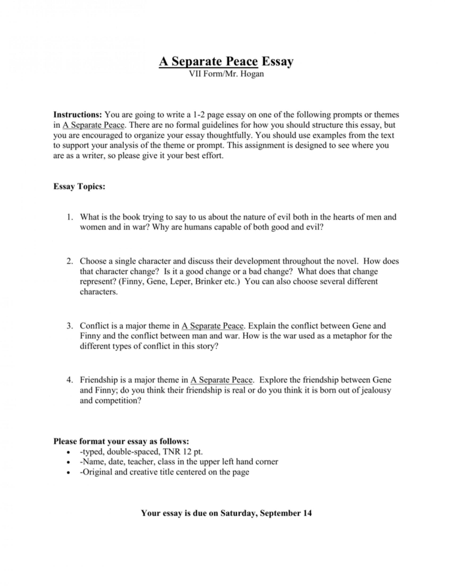 A separate peace essay topics