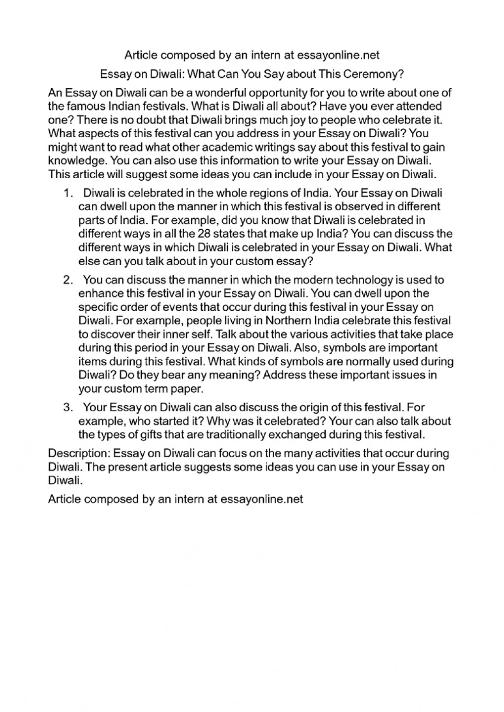 004 Essay Example Simple On Diwali In English For Class Striking 1 My Favourite Festival Large