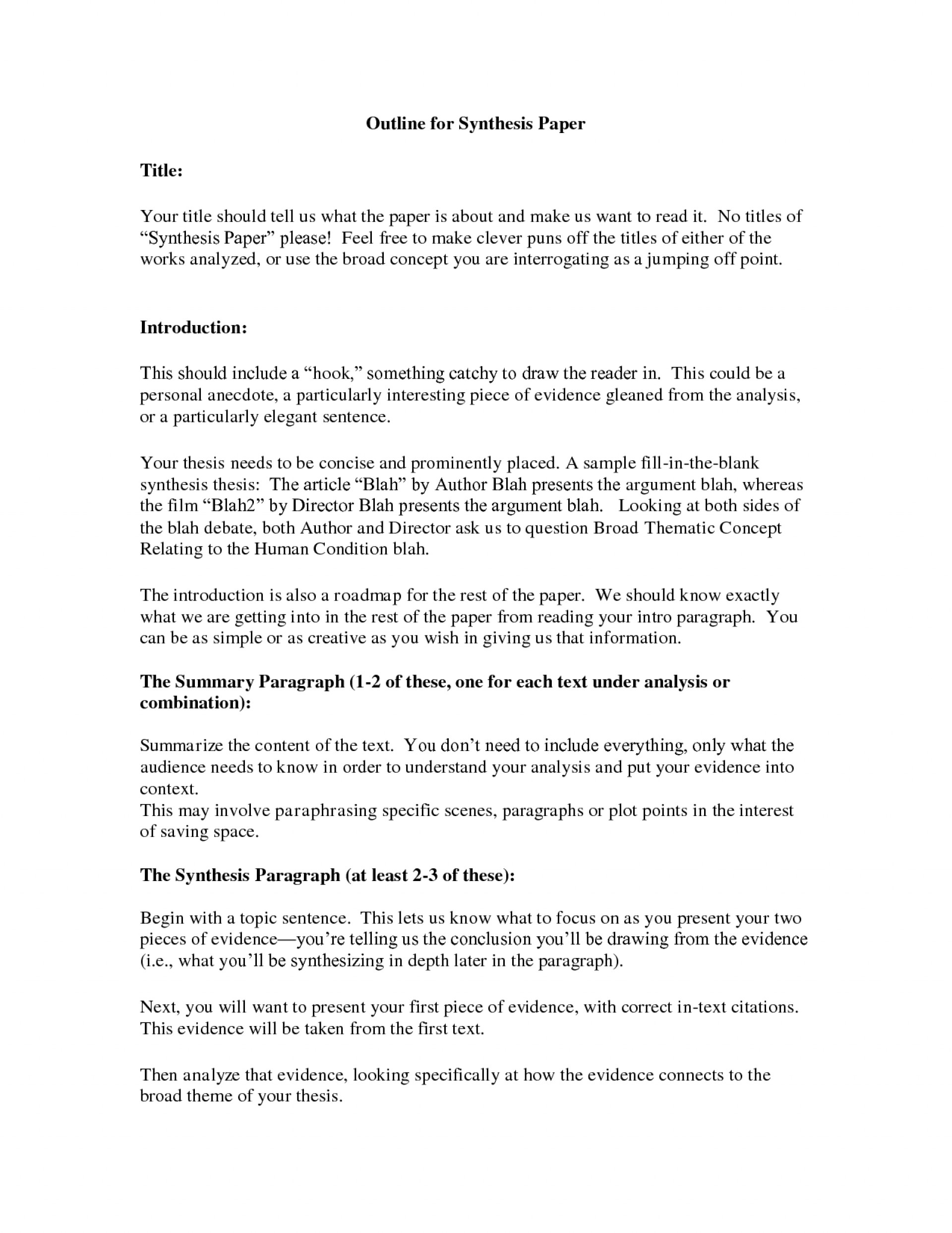 004 Essay Example Synthesis Stupendous Outline Ap Lang Layout 1920