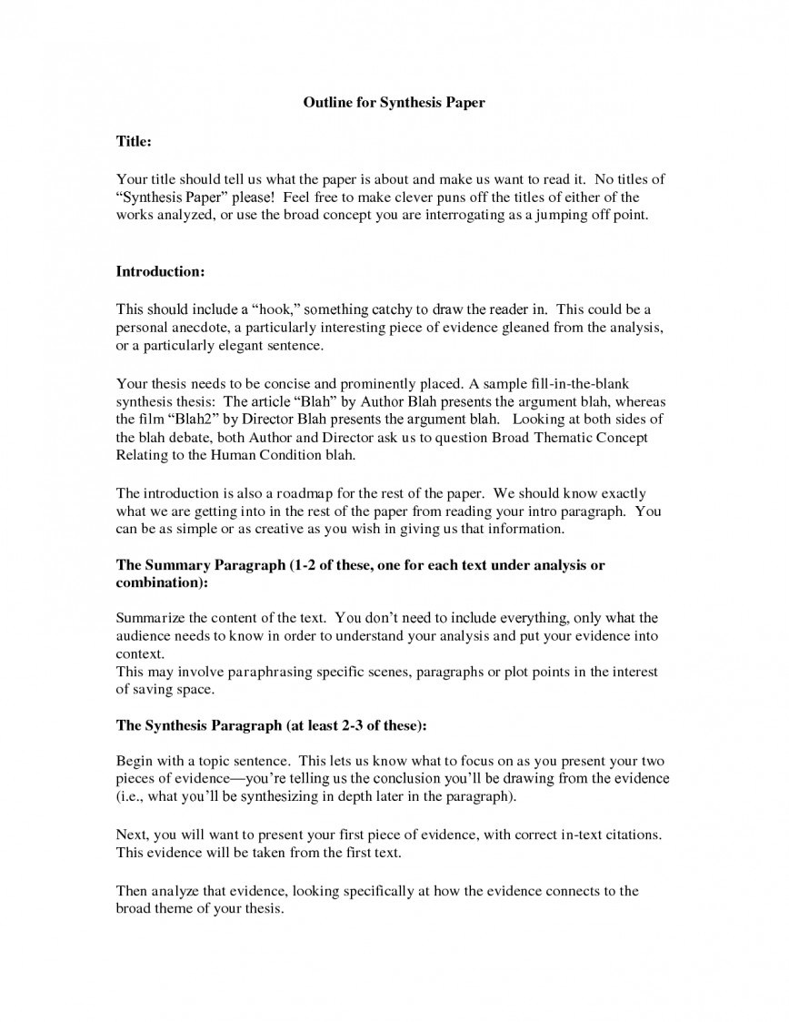 004 Essay Example Synthesis Stupendous Outline Examples Doc Sample