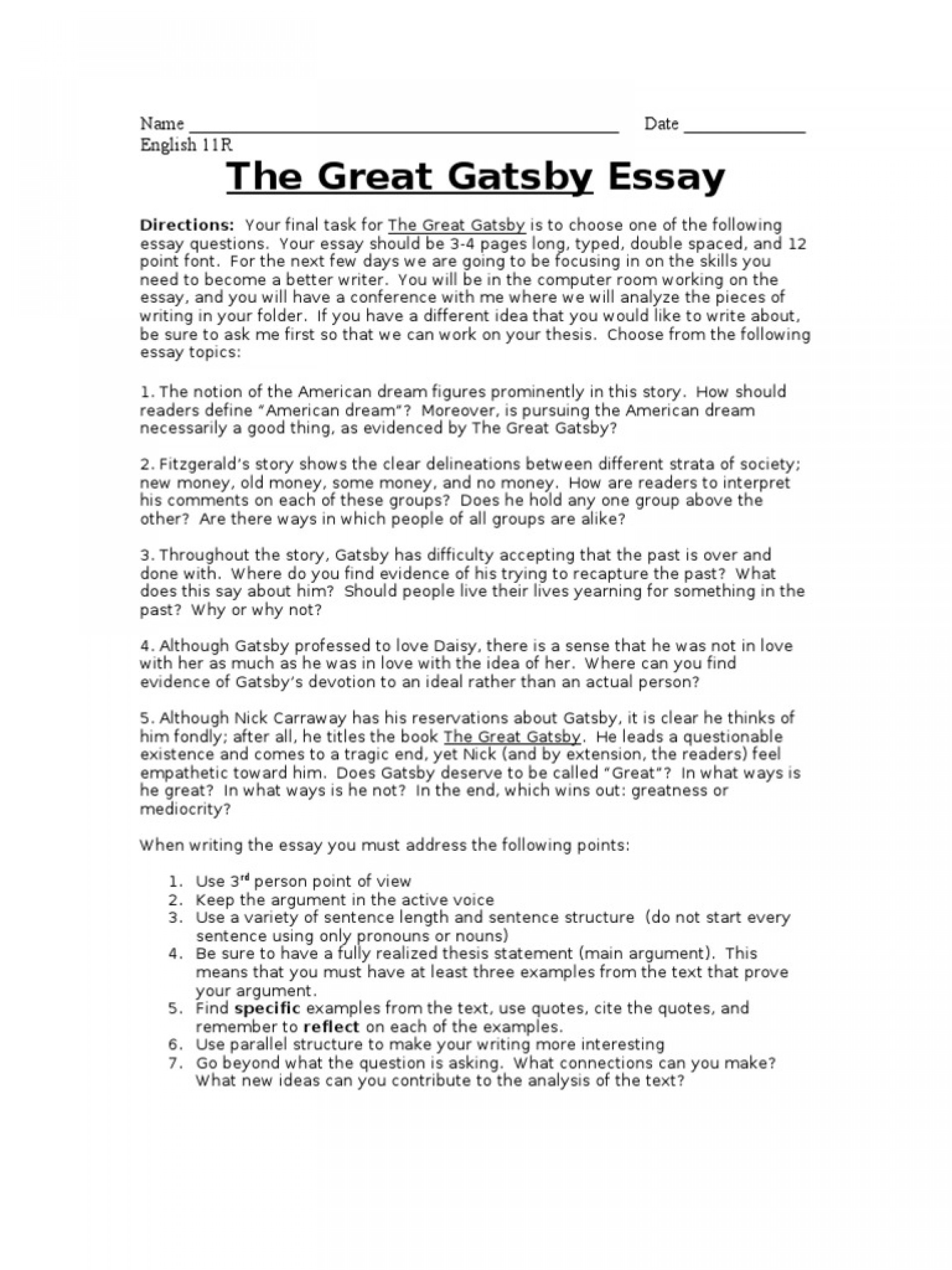 great gatsby american dream essay example the argument scott    essay example the great gatsby final ddbdfdbdb  american fantastic dream conclusion prompt synthesis
