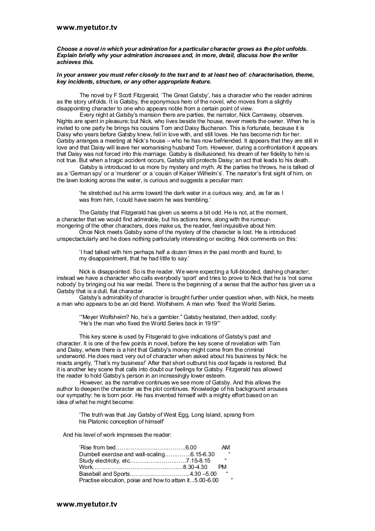 004 Essay Example Thegreatgatsby Essayoncharacter Phpapp01 Thumbnail The Great Gatsby Stirring Themes Money Theme American Dream Full